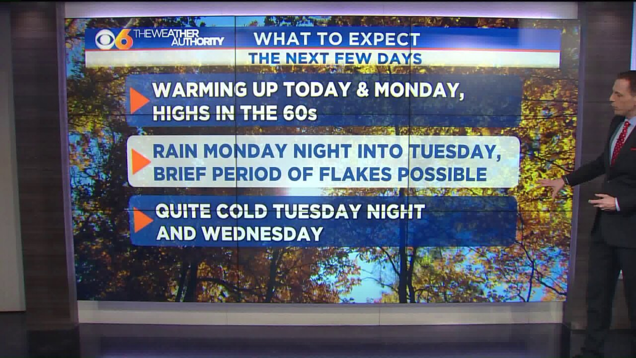 Cold front to bring arctic air, possible flakesTuesday