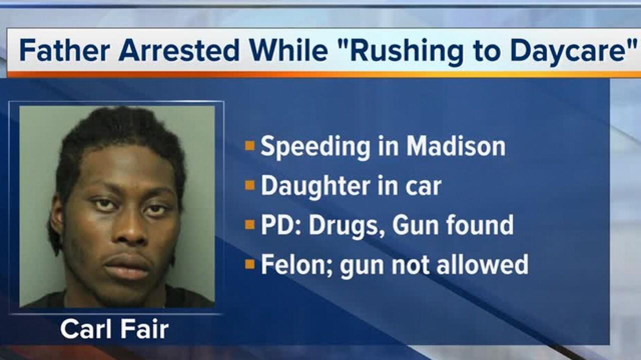 Drugs, gun found in dad's car during traffic stop
