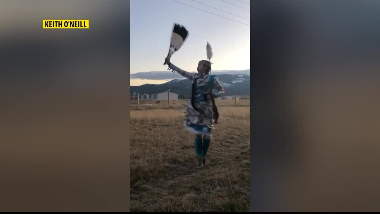 Young girl jingle dances for healing during pandemic