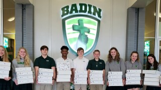 Badin High Schoolers get ready to hand out art kits