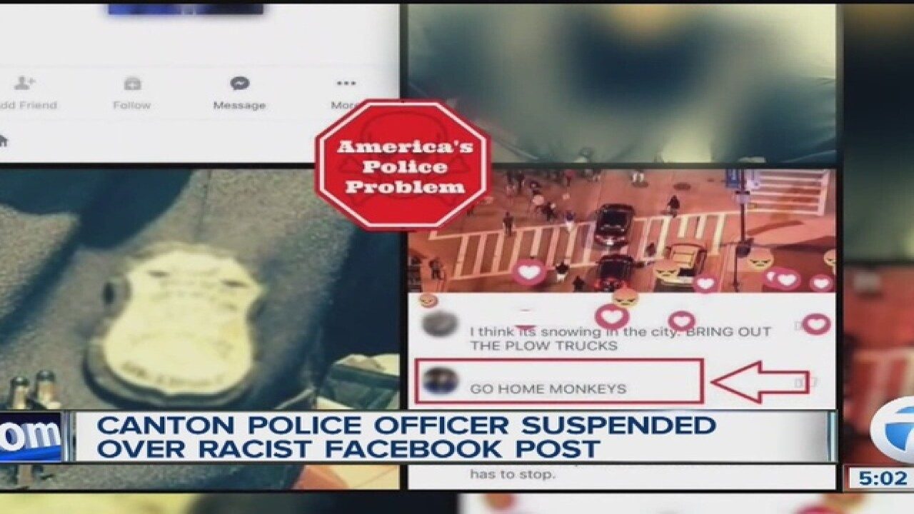 Canton cop suspended after racist Facebook post