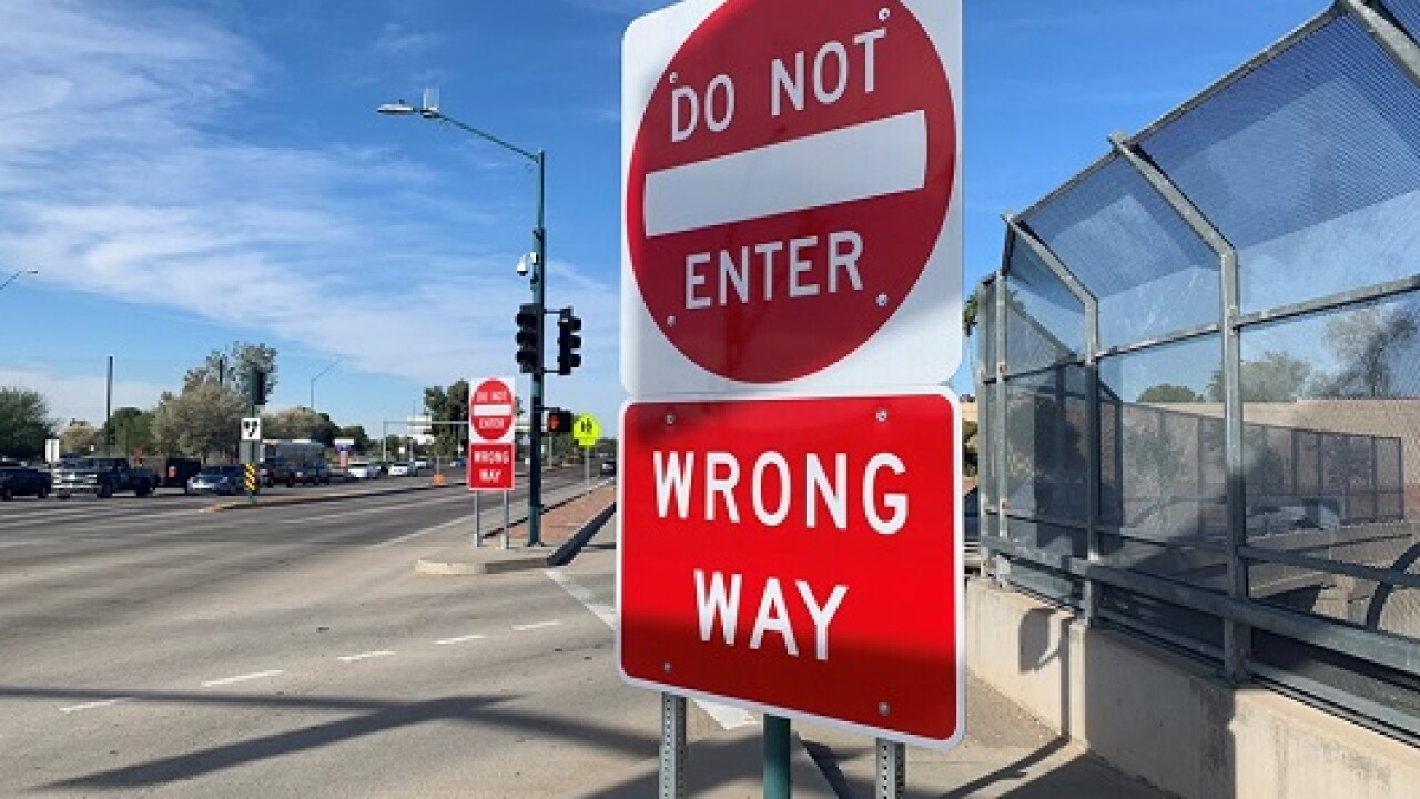 The Arizona Department of Transportation will begin installing larger signs to deter wrong-way drivers from getting on freeways.Photo via ADOT.