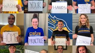 CSUB swimming and diving team sharing health tips