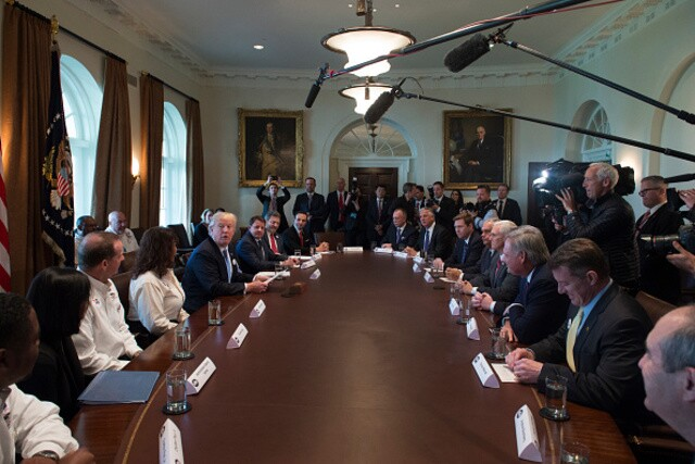President Donald Trump was animated in meeting with truckers