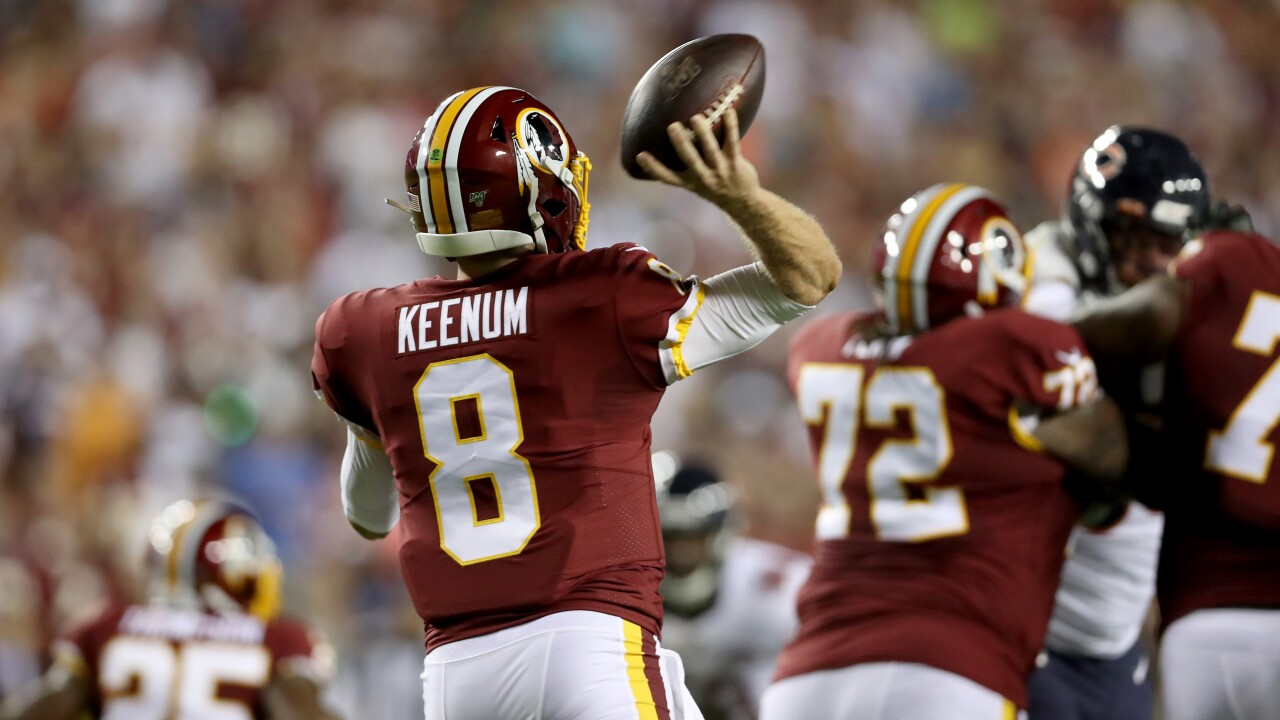 Quarterbacks Case Keenum and Kirk Cousins face their former teams in Redskins-Vikings matchup