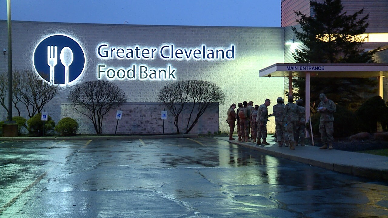 The Ohio National Guard arrives at the Greater Cleveland Food Bank on Monday, March 23.