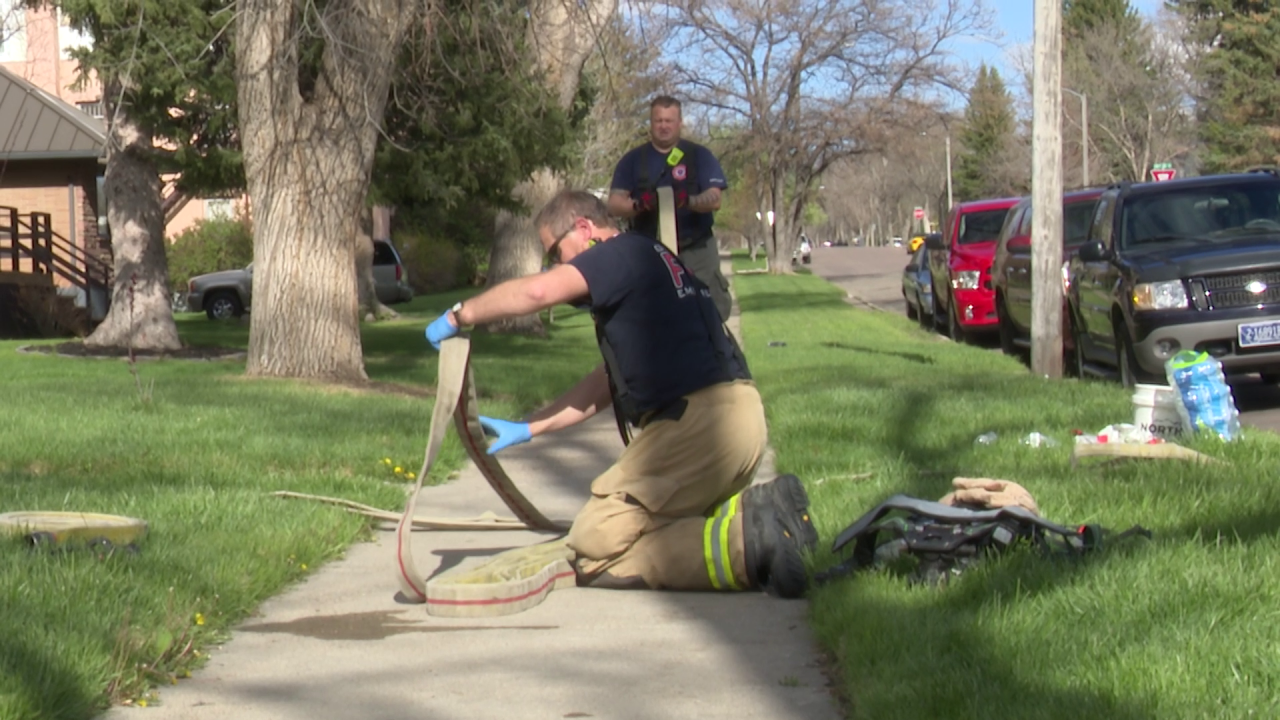 Great Falls Fire Rescue at the scene of a house fire (May 10, 2021)