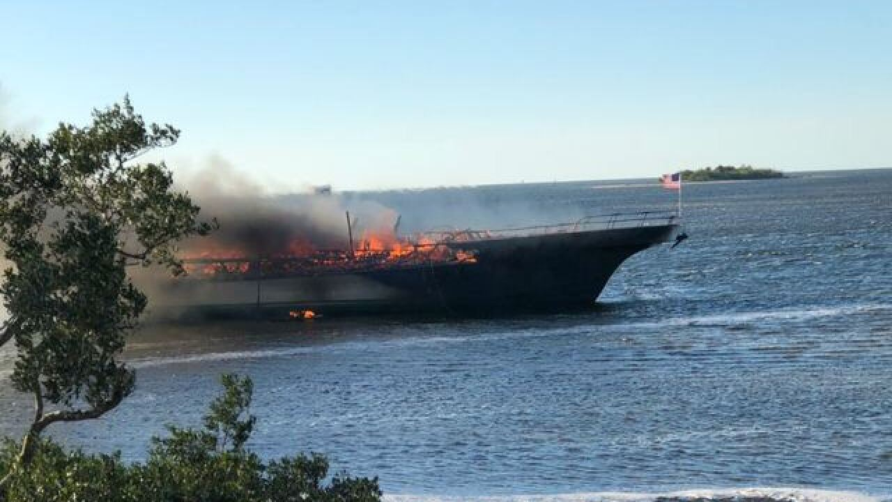 Cruise boat shuttle fire in Port Richey