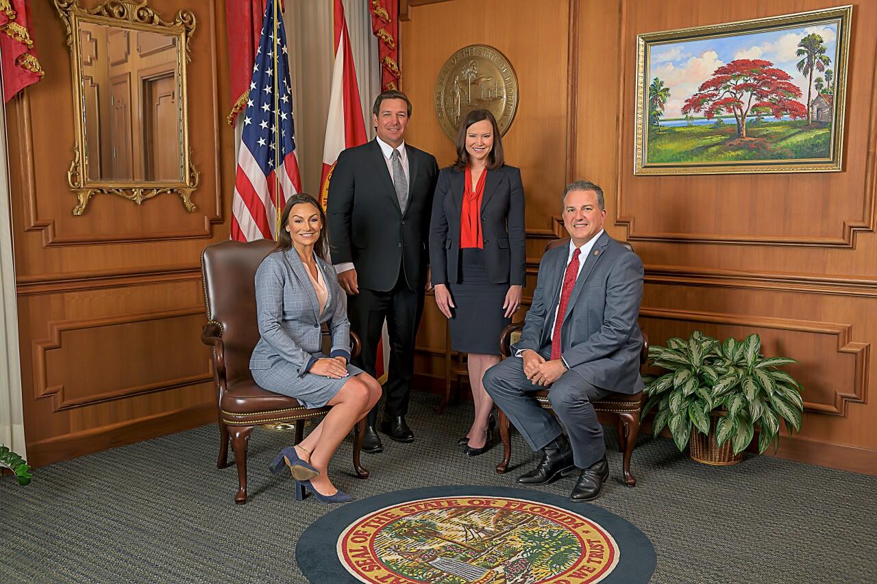 Florida Cabinet official portrait Nikki Fried, Gov. Ron DeSantis, Ashley Moody and Jimmy Patronis