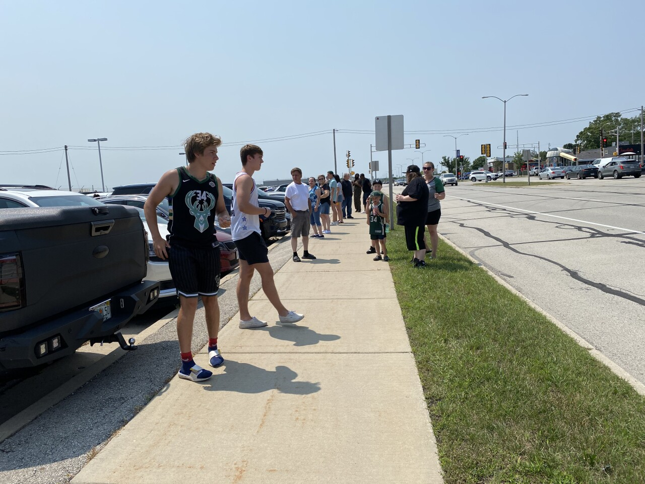 Fans waiting for the team to land at Mitchell Airport