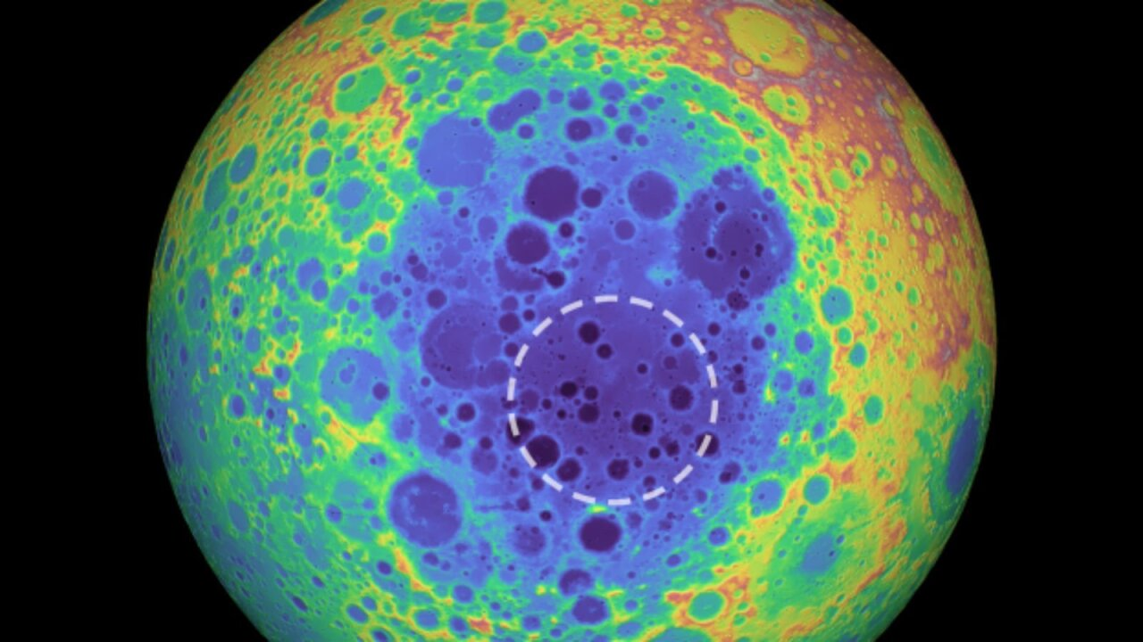 There's a huge mass embedded in the center of the moon, and astronomers aren't sure what it is