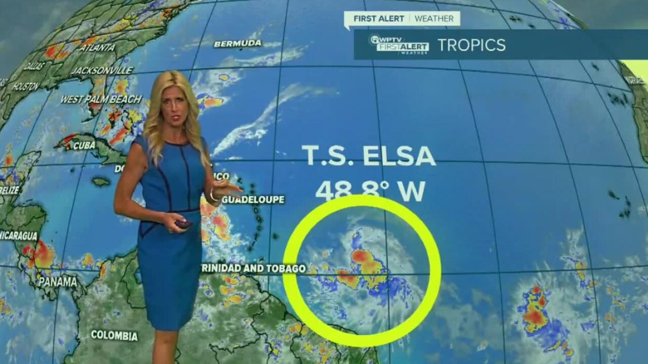 WPTV First Alert Meteorologist Kate Wentzel tracks Tropical Storm Elsa on July 1, 2021.jpg