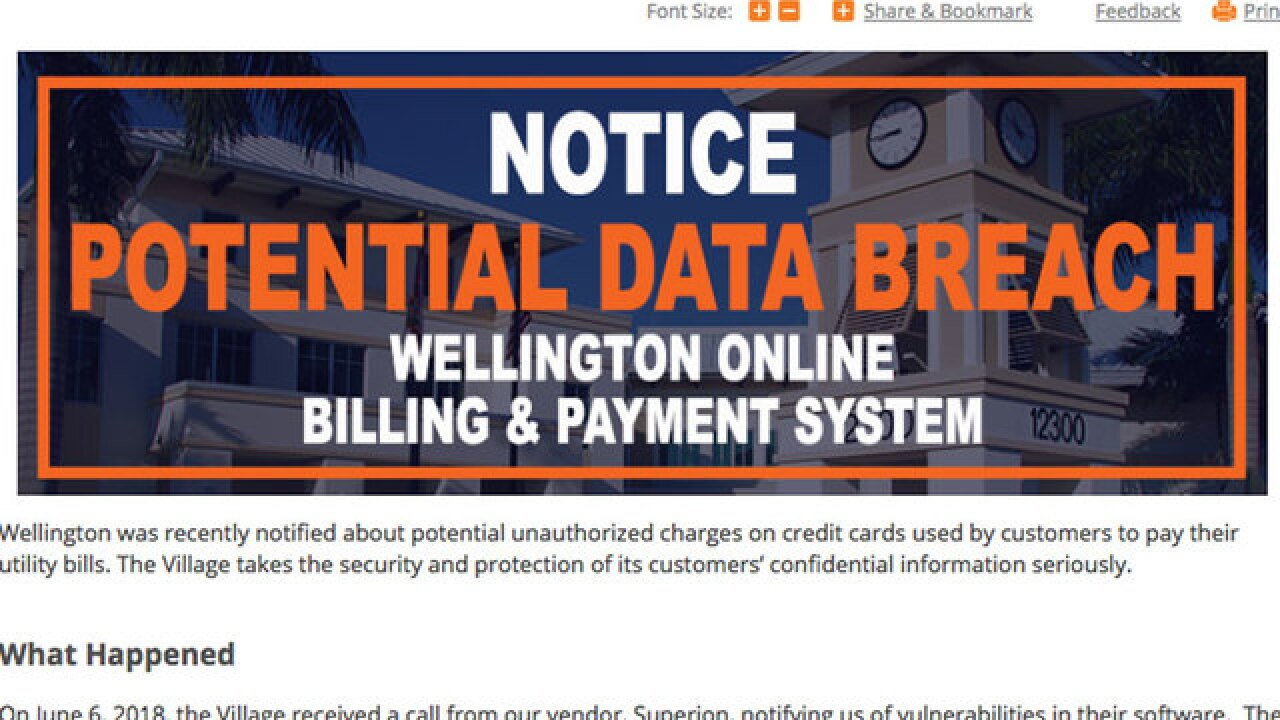 Possible data breach of Wellington billing and payment system