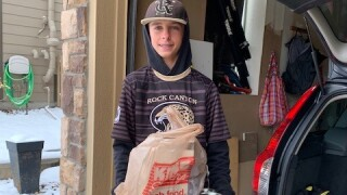 Rock Canyon freshman baseball team food drive