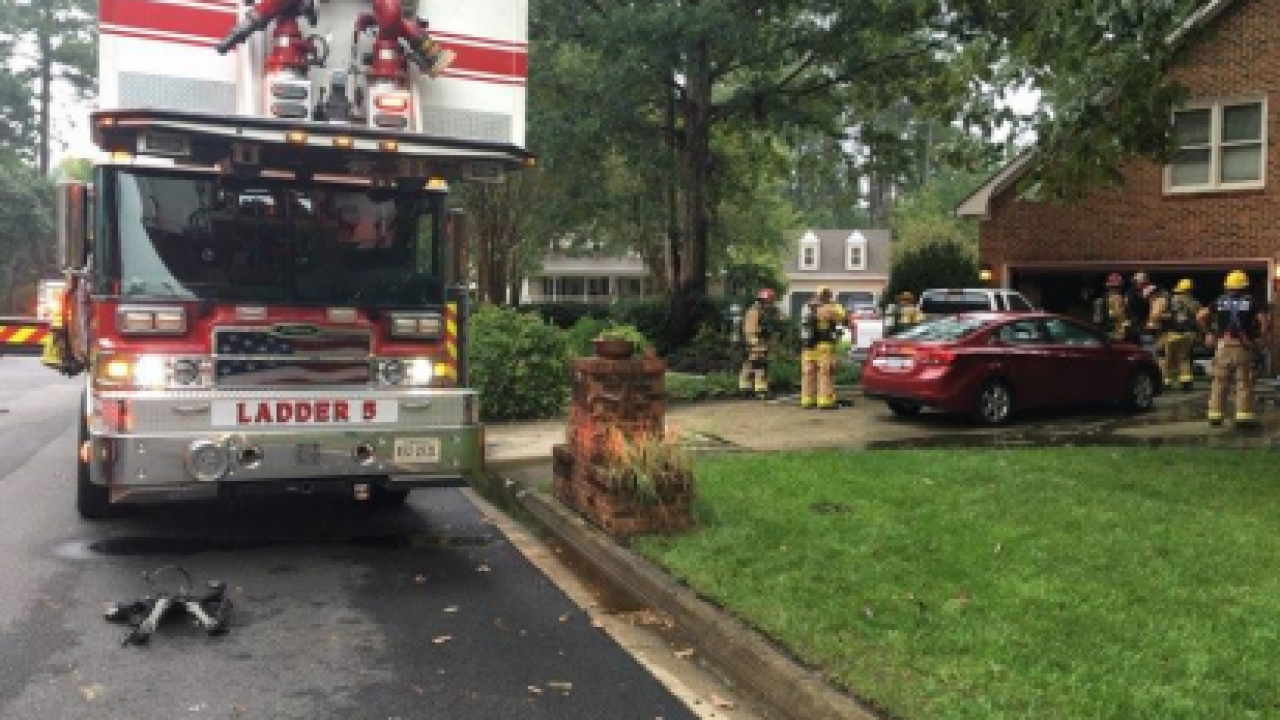 Firefighters in Chesapeake respond to a garage fire