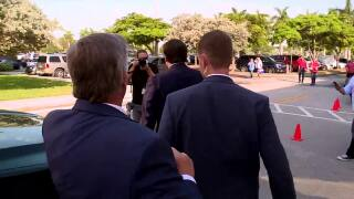 WPTV reporter Matt Sczesny questions Gov. Ron DeSantis as he leaves private bill-signing ceremony in West Palm Beach, May 6, 2021