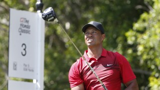 Tiger Woods tees off on third hole at Honda Classic in 2018