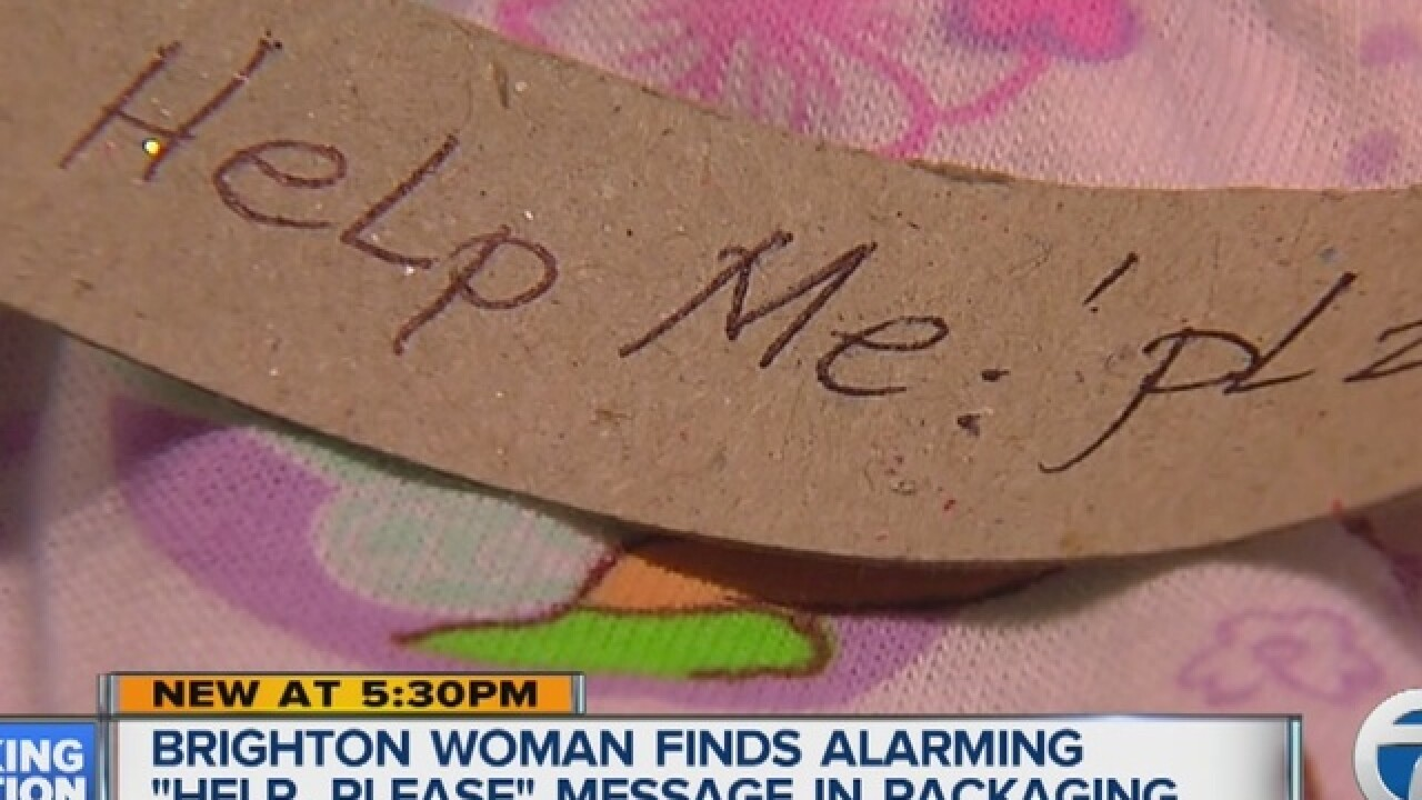 "Detroit woman finds ""Help Me"" note in underwear"