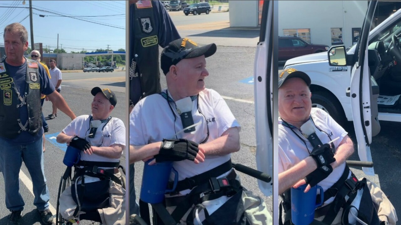Motorcycle group outfits paralyzed veteran's pickup with handcontrols