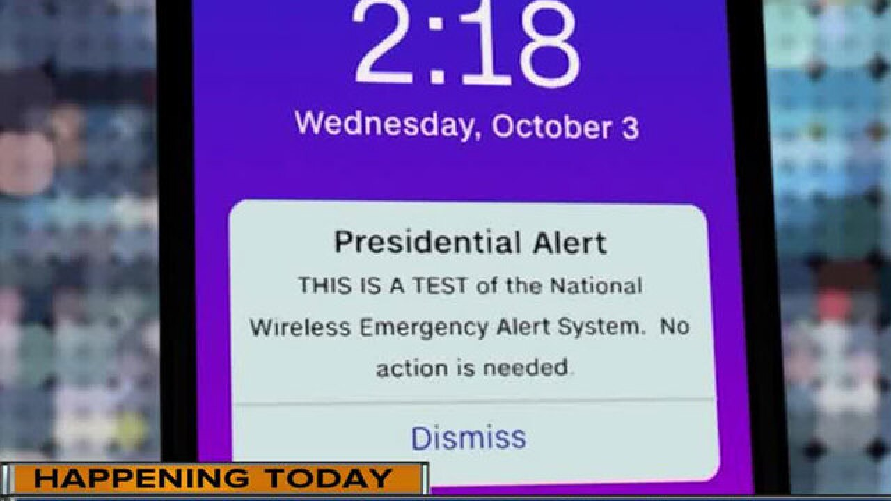 Emergency alert tested on mobile phones nationwide Wednesday afternoon