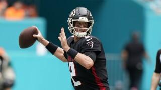 Atlanta Falcons QB Matt Ryan throws vs. Miami Dolphins in 2021