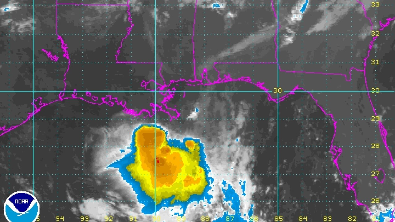 Ragged remains of Isaac are back over the Gulf of Mexico
