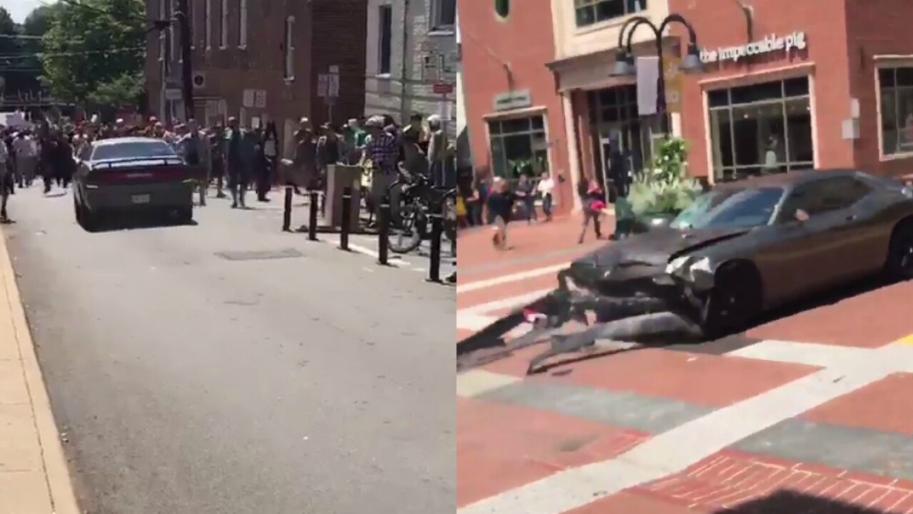 1 dead, 19 hurt after car slams into crowd inCharlottesville