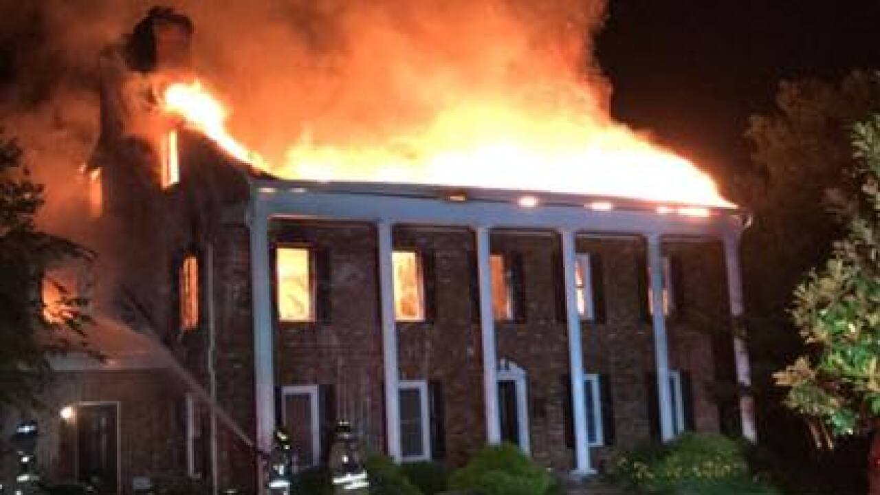 Firefighters worked several hours to battle flames for a Mt  Airy