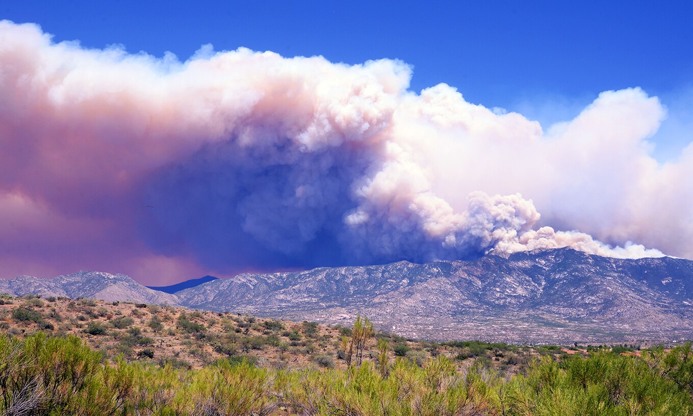 The Bighorn Fire as seen from Eagle Crest Ranch in Catalina on Wednesday, June 17
