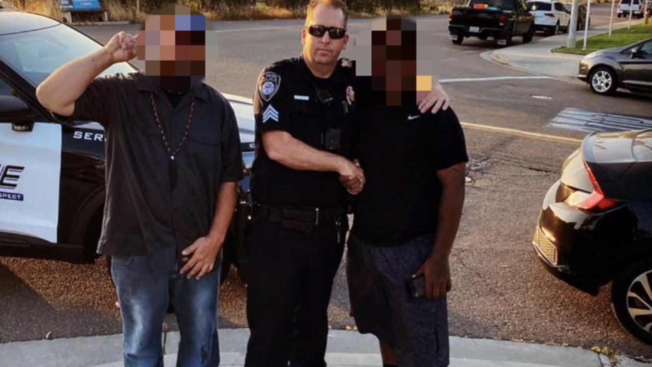 El Cajon officer's encounter with vandals ends with unlikely painting session