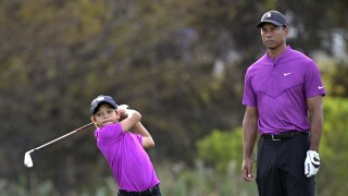Tiger Woods and son Charlie Woods at 2020 PNC Championship