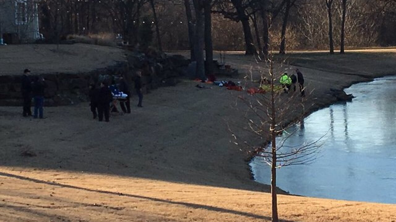 Two people fall through icy pond near Catoosa