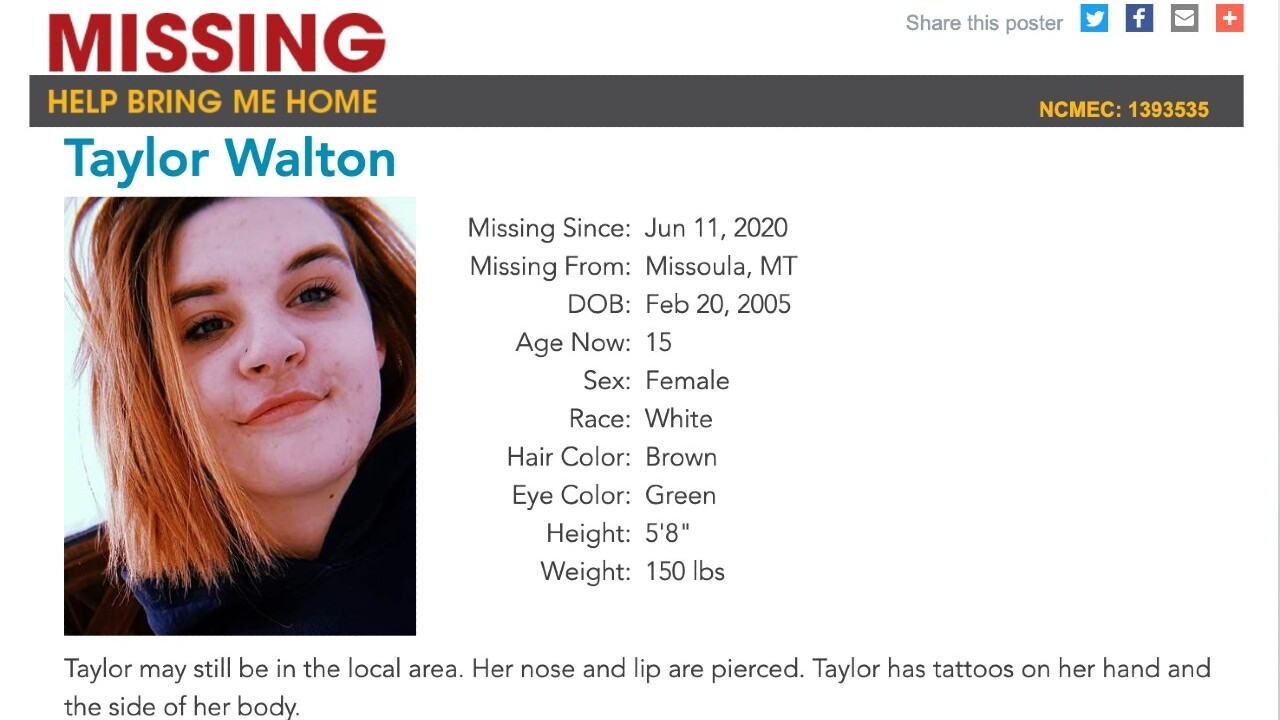Info sought on Missoula teen reported missing