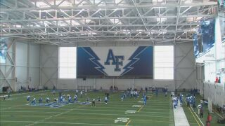 Air Force football practices for the final time at home
