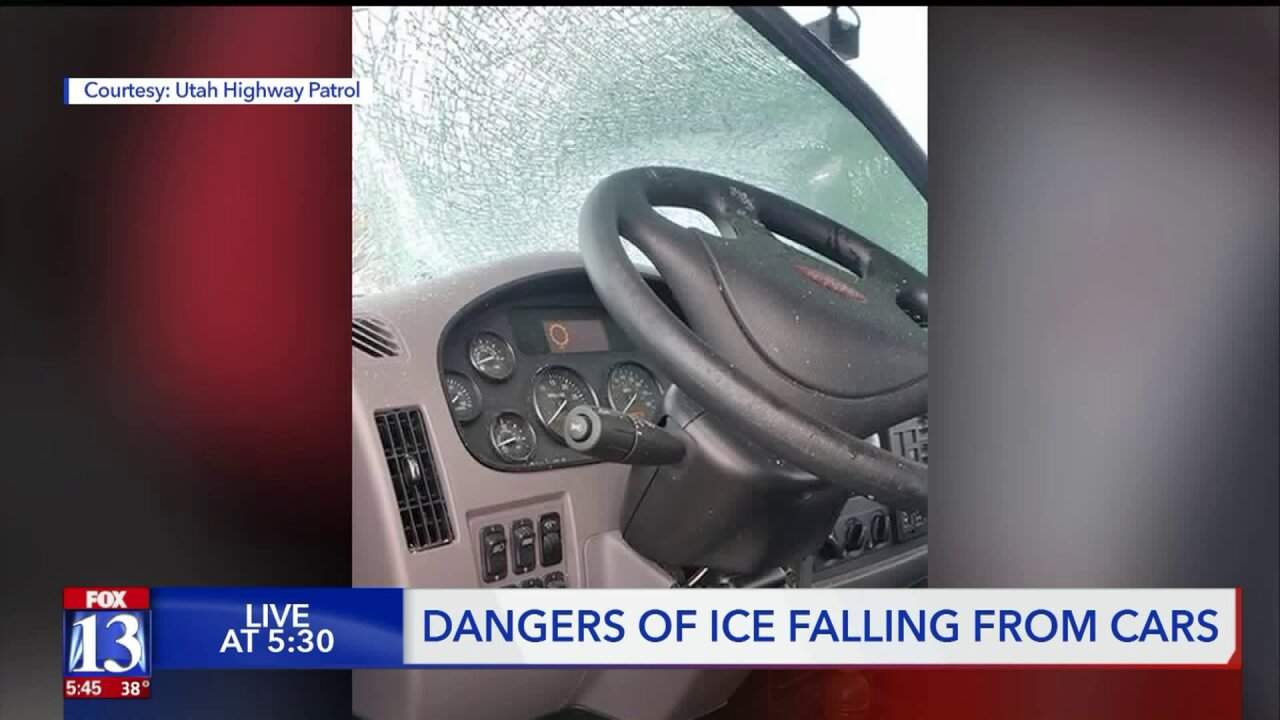 Ice chunk falls off trailer at high speeds, crashes intowindshield