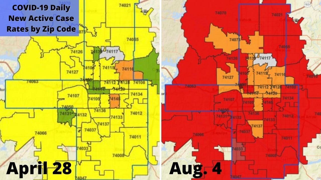 Active COVID-19 case rate in Tulsa County