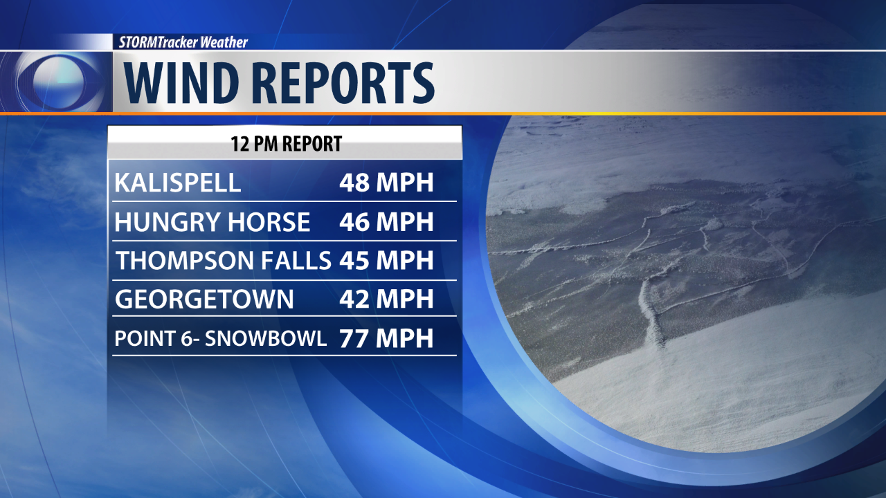 Some of the highest wind gust reports as of 12 PM Wednesday