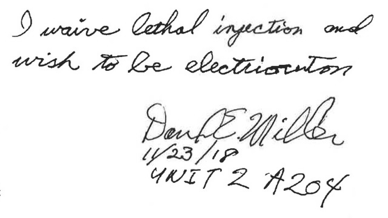 David Earl Miller elects to be executed by the electric chair