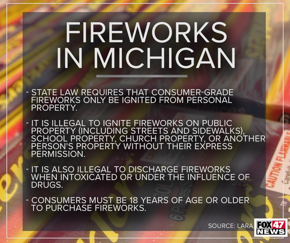 Laws about fireworks in Michigan