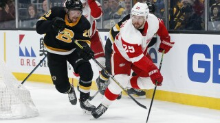 Red Wings give up four unanswered goals in loss to Bruins