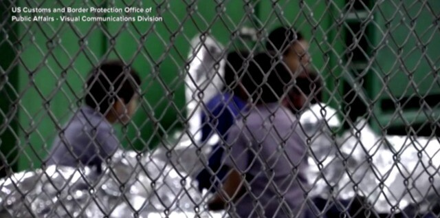 Migrant families wait at Central Processing Center in McAllen, TX