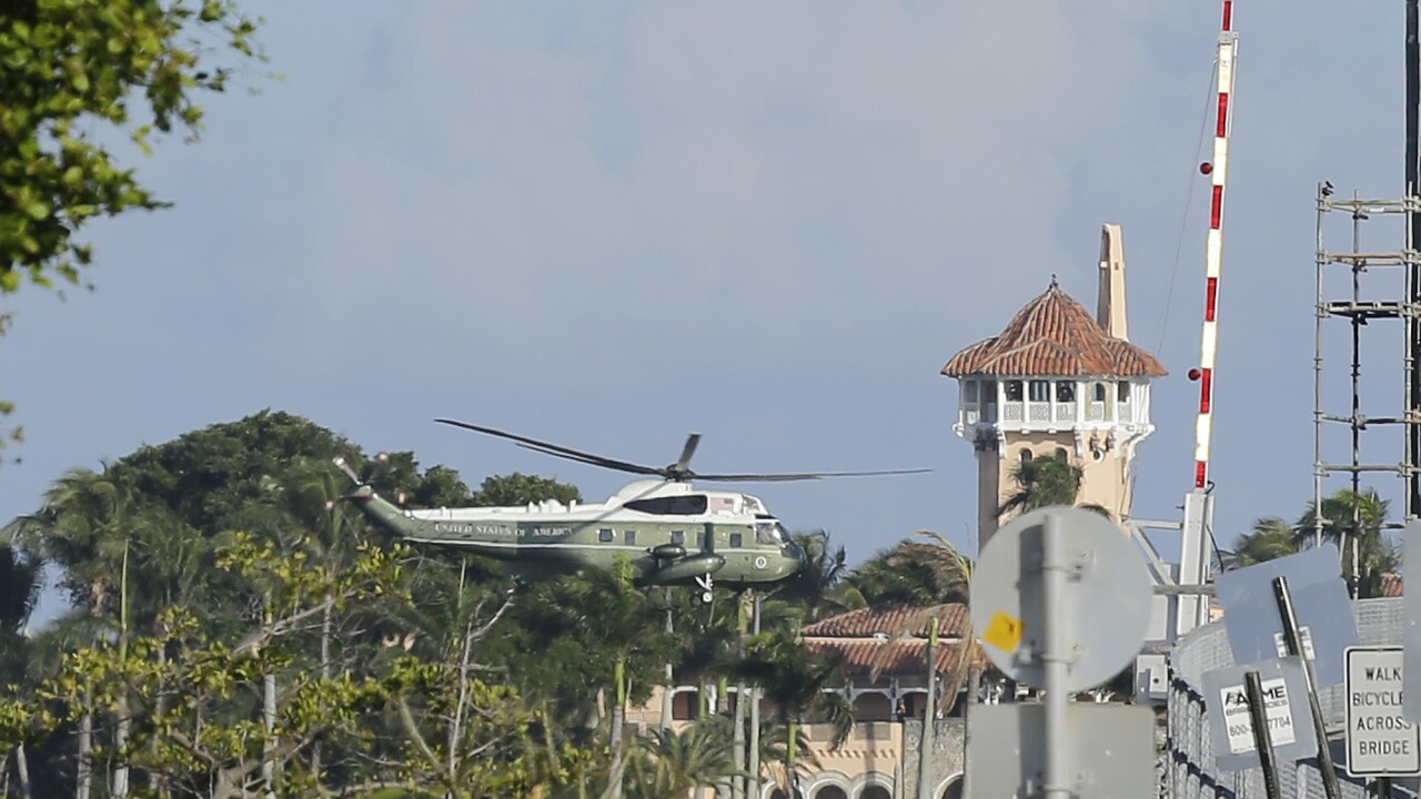 President Donald Trump on Marine One leaving Mar-a-Lago in January 2020