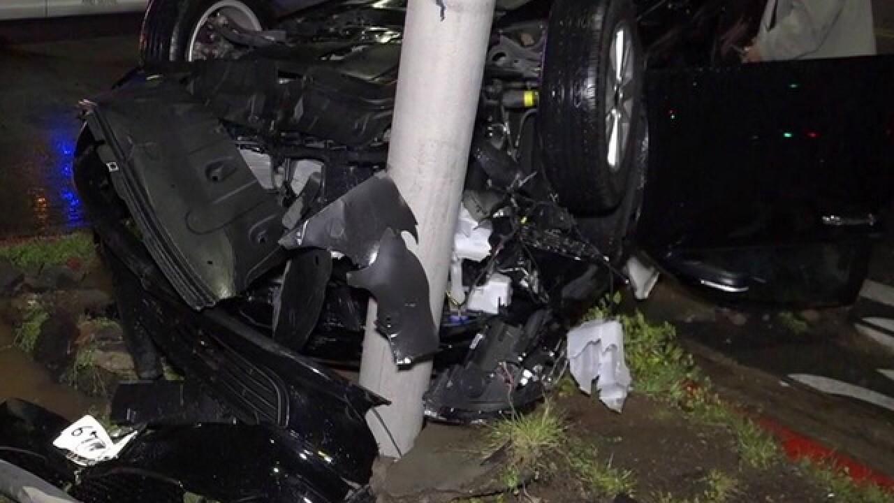 Lyft driver crashes car, breaks fire hydrant