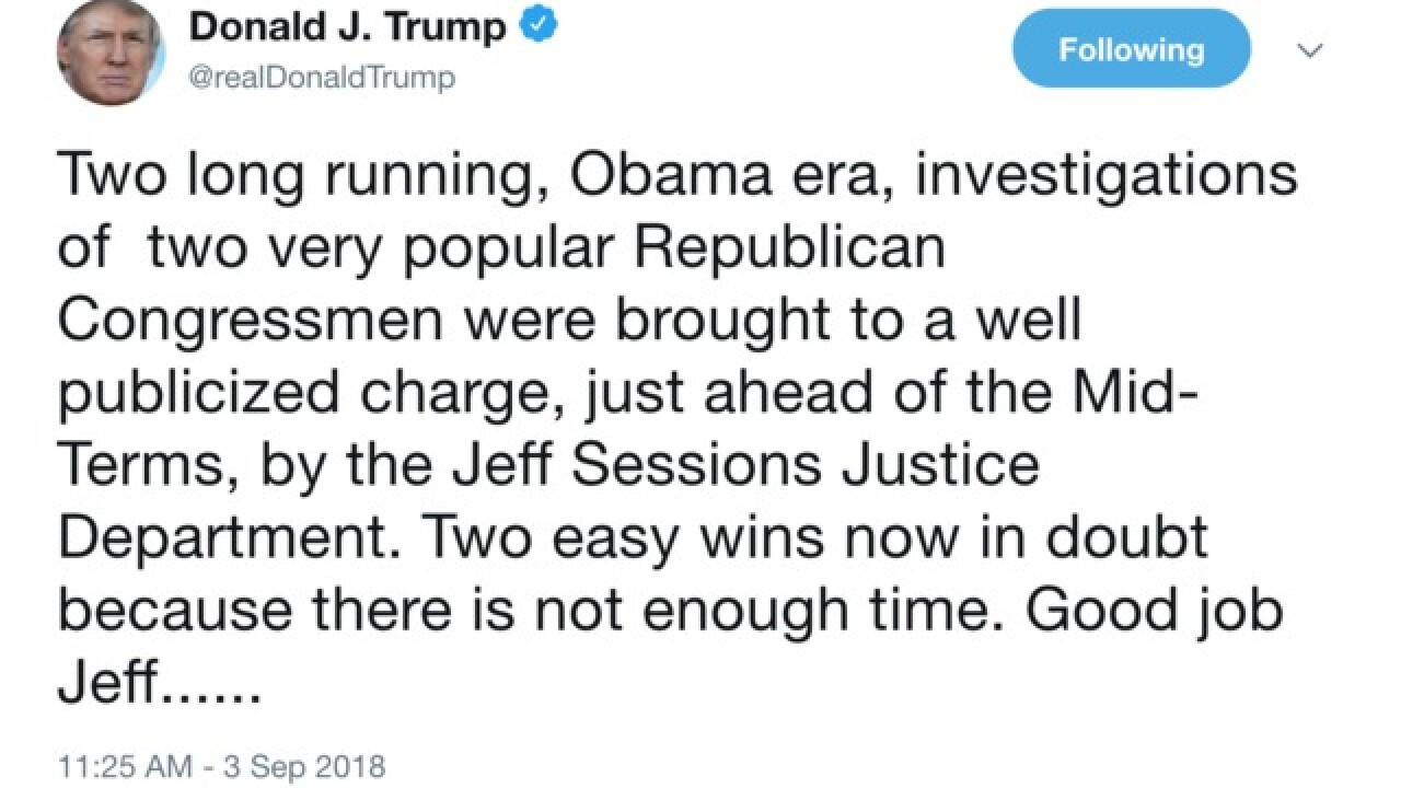 Trump seems to reference Collins case in Jeff Sessions tweet