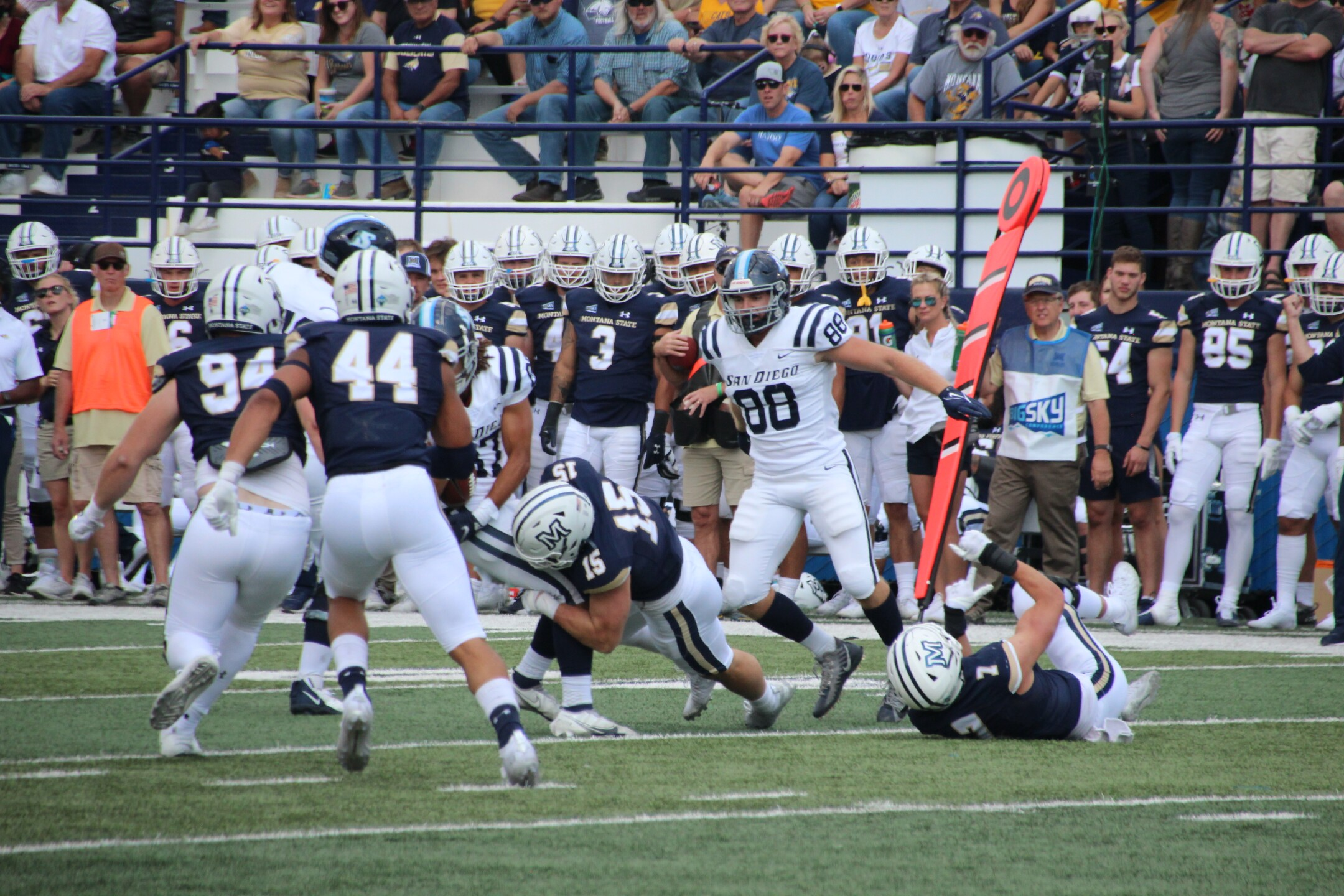 MSU LB Troy Andersen tackles a Toreros ball carrier in the first half