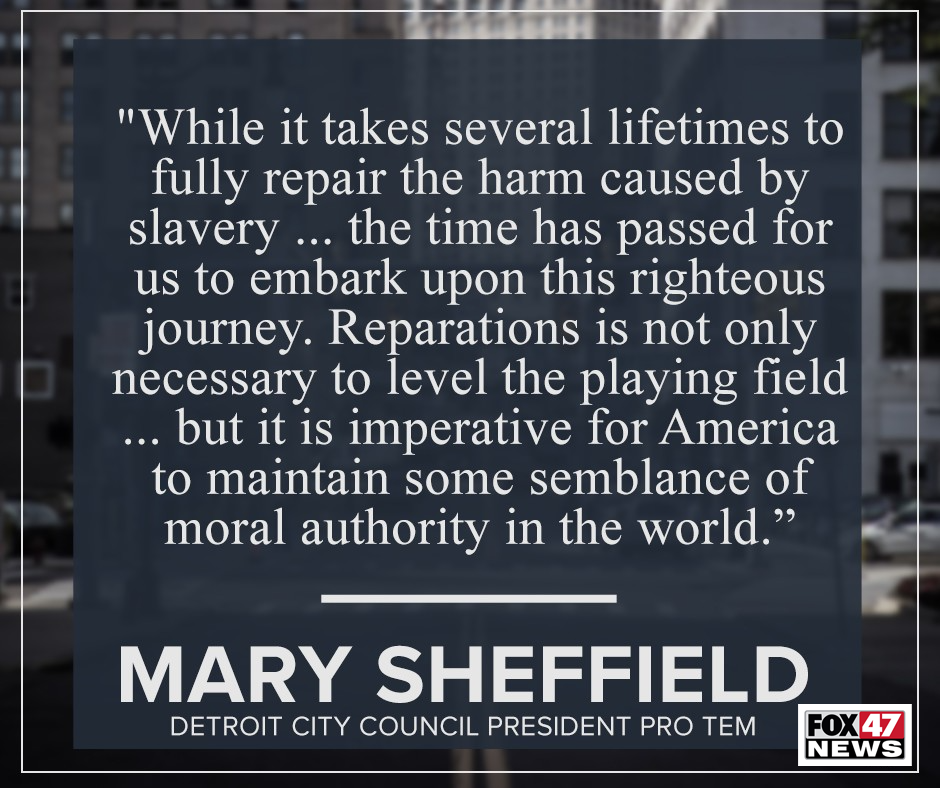 Comments by Detroit City Council President Pro Tem Mary Sheffield