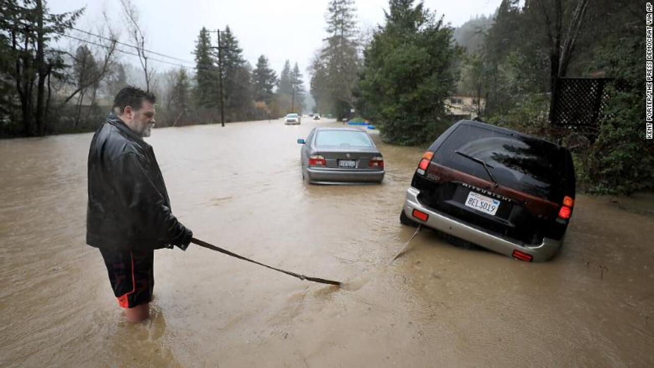 Russian River rises 45 feet, turning California town into an island