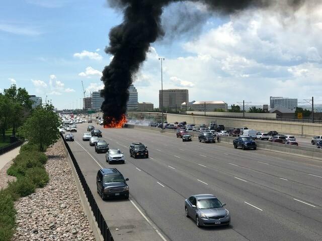 GALLERY: Massive fuel tanker fire closes I-25 in Denver Tech Center