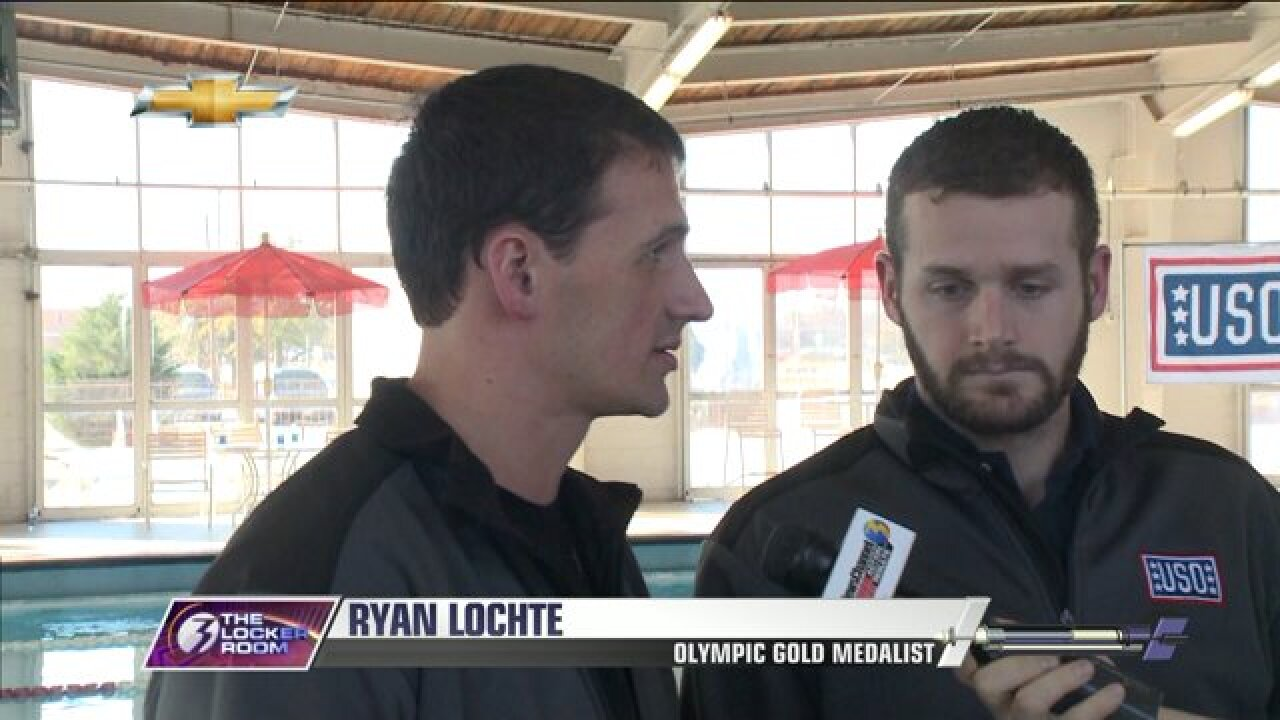 Olympic gold medalist Ryan Lochte gives swimming lessons at Naval StationNorfolk
