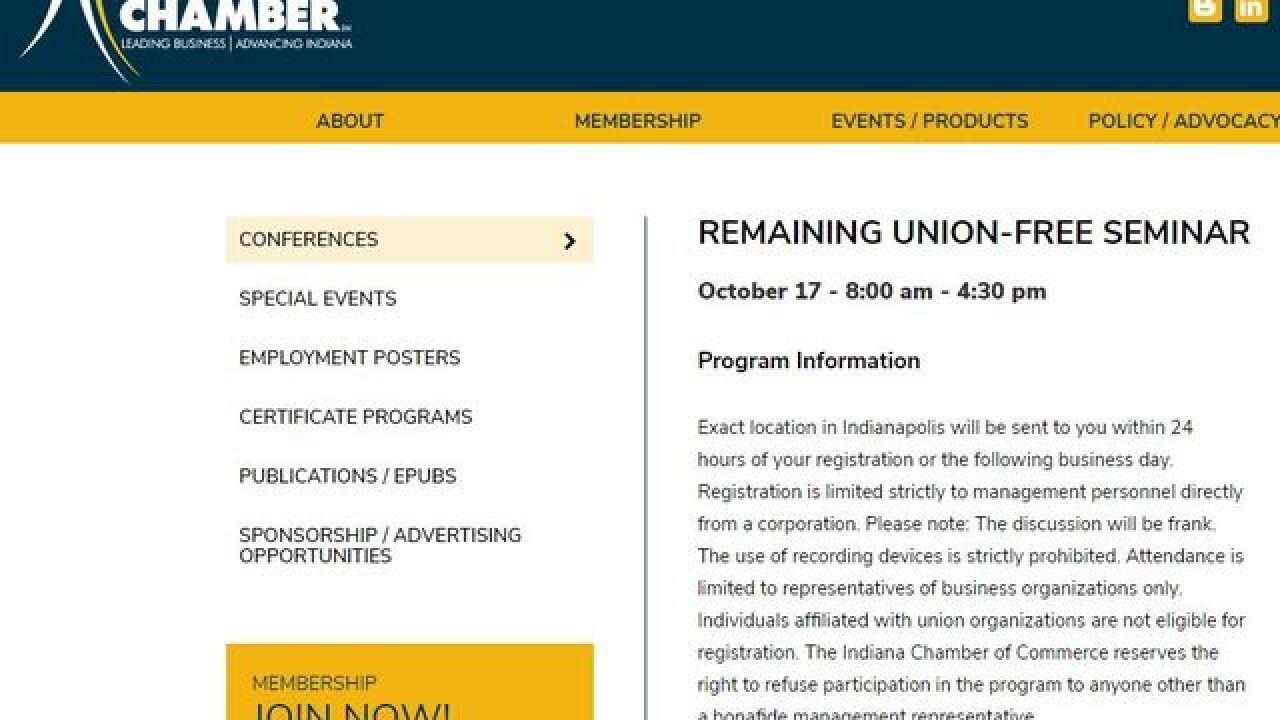 Indiana Chamber of Commerce to hold secret anti-union event